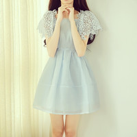 Solid Color Stitching Sleeve Organza Mini Dress