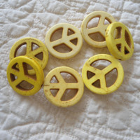 Large Multiple Yellow Turquoise Peace Signs Boho/Hippie/Gyspy Handmade elastic Bracelet/Anklet Magnesite Summer/Beach Jewelry Natural