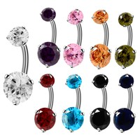 1pc Steel Belly Button Rings Navel Rings Internally Threaded Crystals Piercings Navel Belly Rings Round Stone Sexy Body Jewelry