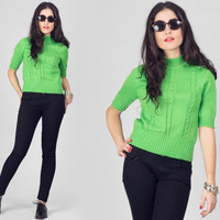 60s Green Cable Short Sleeve Sweater / Chunky High Collar Pullover Knit Top / Mod Minimalist Sixties Small S Sweater