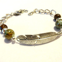 Ready to Ship, Earthy Beaded Feather Connector Bracelet, Silver Chain Link Bracelet, Gypsy Bracelet, Cool Jewelry, Gift Under 20