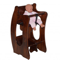 Handcrafted Amish 3 in 1 High Chair, Rocking Horse, and Writing Desk