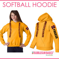 Custom PERSONALIZED Girls SOFTBALL Hooded Hoodie Gold or Neon Yellow Sweatshirt -Name Team  Any Color Text Player Mom Aunt Grandma Sister