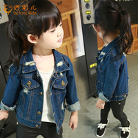 Baby Girls Denim Jacket 2016 New Spring Autumn Kids Jacket for Gilrs Fashion Hole Jeans Jacket Girls Outerwear 1-6Y PT567