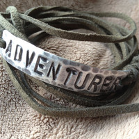 ADVENTURER ID Bracelet, silver, leather, Hand Stamped, Inspirational jewelry, bracelet with words,