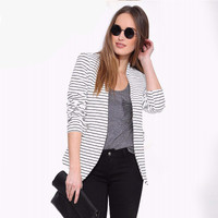 Fashion Stripes Printed Black White Casual Slim Long Sleeve Button Business Casual Suit Outerwear Jacket a13225