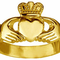 Yellow Gold vermeil plated over real Sterling silver .925 Celtic Claddagh Love friendship Best friends ring Irish Jewelry