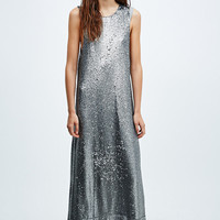 Native Rose Sequin Slouch Maxi Dress in Silver - Urban Outfitters
