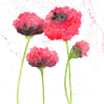 Watercolor flowers, flower painting, watercolor painting, flower art, poppy print, flower print, abstract poppies, red poppies, poppy - 8X10