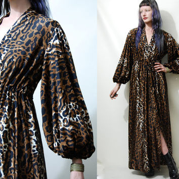 70s Vintage LEOPARD PRINT Dress Robe Wrap Gown Animal Print Puff Bell Sleeve Long Maxi Boho Bohemian 1970s vtg M L
