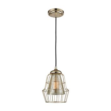 Yardley 1-Light Mini Pendant in Polished Gold with Mercury Glass and Wire Cage