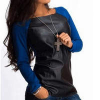 Faux Leather Long Sleeve Pullover Shirt