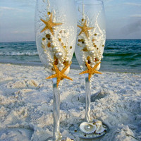 Beach Themed Wedding Champagne Toasting Flutes