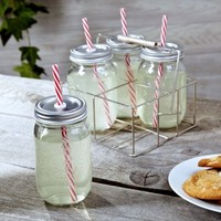 Sippin Mason Jar Drinking Glasses with Carrier