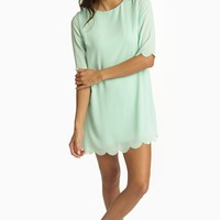 Mint Green Scalloped Trim 3/4 Sleeve Chiffon Dress