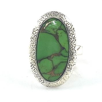 Green Copper Turquoise Sterling Silver Oval Ring