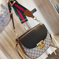 GUCCI Fashion classic double G print lock bag with one shoulder diagonal cross for ladies