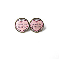 Floral Conversation Heart Feminist smash the patriarchy Stud Earrings - Feminist Heart Pop Culture Pastel Goth Soft Grunge Jewelry
