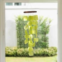 Aesthetically Designed Handmade Wind Chime with Capiz Shell Hangings, Green