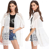 White Floral Crochet Bat Sleeves Chiffon Cover Up