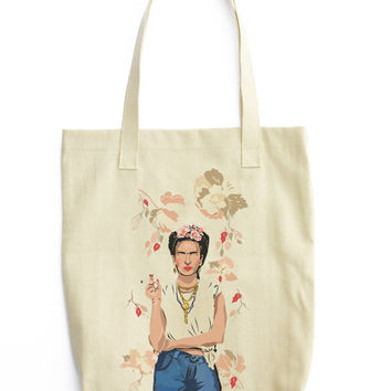Frida Khalo Canvas Tote Bag - School College Book Carry all -