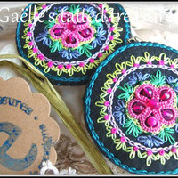 Hand embroidered Mandala earrings