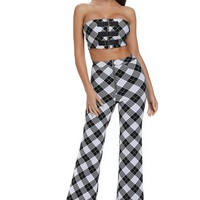 Black And White Checker Strapless Pants Set