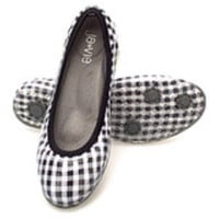 Gingham/Black Flats-Available 3.15