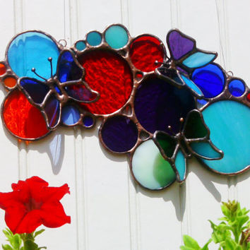 3D Butterfly Circles Stained Glass Sun Catcher Free Shipping