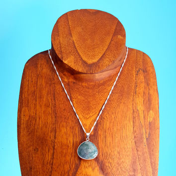 Sterling Silver Blue Green Agate Pendant Necklace