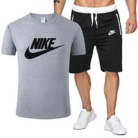 NIKE New fashion letter Top and Shorts two piece suit T Shirt Leisure sport Grey