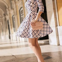 Pink Plaid Zipper Round Neck Elegant Mini Dress