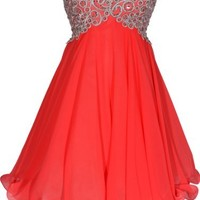 Chiffon Embroidered Babydoll Prom Dress, 2X, Coral-Silver