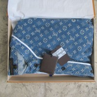SUPREME X LOUIS VUITTON Monogram Blue Jacquard Denim BASEBALL JERSEY 4L SOLD OUT