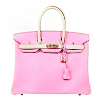"""Hermes Special Order """"Horseshoe"""" Bi-Color 5P and Gris Perle Swift Birkin 35cm with Palladium Hardware Never Carried"""