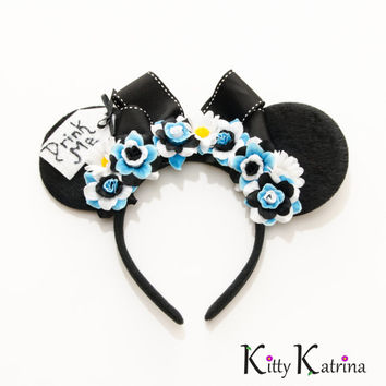 Alice Mouse Ears Inspired Headband, Alice in Wonderland Dress, Alice in Wonderland Costume, Alice in Wonderland Party, Disney Headband