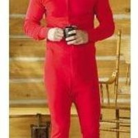 Terramar Mens One Piece Thermal Underwear Long Johns, Red