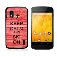 Keep Calm And Ski On Red-Wood Google Nexus 4 Case - For Nexus 4