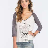Billabong Where Gypsies Roam Womens Baseball Tee White/Grey  In Sizes