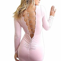 backless cross bodycon dress