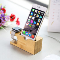 Cell Phone Charger Dock with Watch Bamboo Holder Desk Wood Charging Stand For Apple Watch 2 38mm 42mm For iPhone 6 7 plus