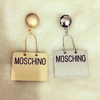 MOSCHINO Popular Ladies Exaggerate Metal Pendant Earrings