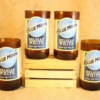 Drinking Glasses from Recycled Blue Moon Beer Bottles, 8 oz, Unique Barware, Unique Gift, ONE glass