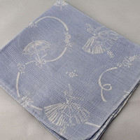 Vintage Handkerchief,Blue With White Ballerinas Hankie for Crafting, Sewing, Framing, Quilting,  Great Gift Idea, Quiting  D-18