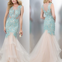 Colors 1343 Lace Mermaid Prom Evening Dress