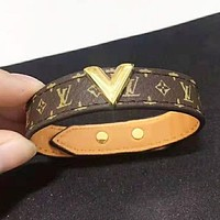 Bunchsun Louis Vuitton LV New fashion monogram leather couple bracelet