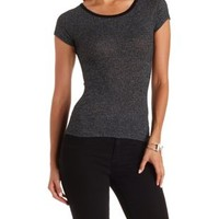 Black Combo Slub Knit Ribbed Tee by Charlotte Russe