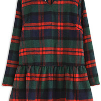 Plaid Long Sleeves Woolen Dress for Women