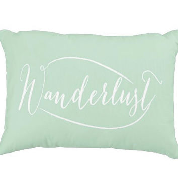 """16""""x12"""" Mint Wanderlust Decorative Pillow Cover, Typography, Couch Lumbar Pillow, Accent Pillow"""