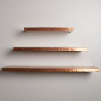 Burnished Metal Floating Shelf by Anthropologie in Copper Size: